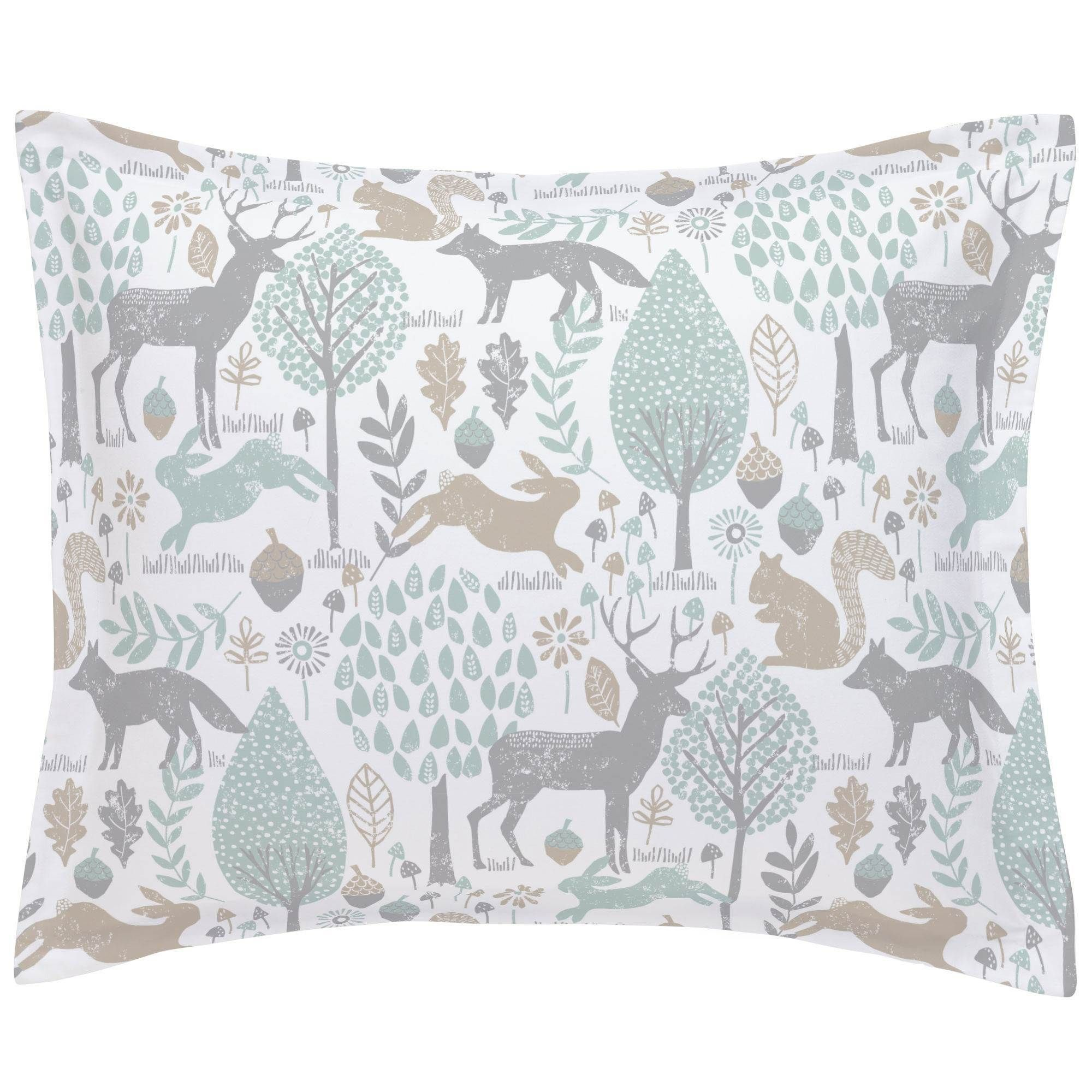 Gray and Taupe Woodland Animals Pillow Sham