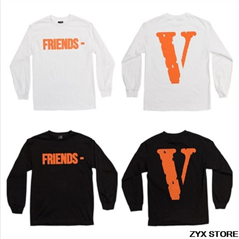 4c412bdc2b87 2017ss Vlone Friends POP Upnew Orleans Women Men Long Sleeve t shirt Hiphop  Vlone Print sweatshirt t shirts tee 1 1 top quality