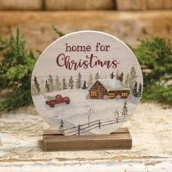 Home For Christmas Round Sign on Base Holiday Décor