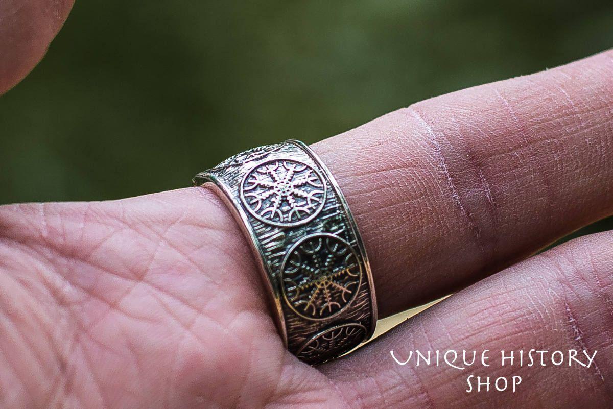 Helm of Awe Ring, Aegishjalmur Ring, Silver Viking Jewelry