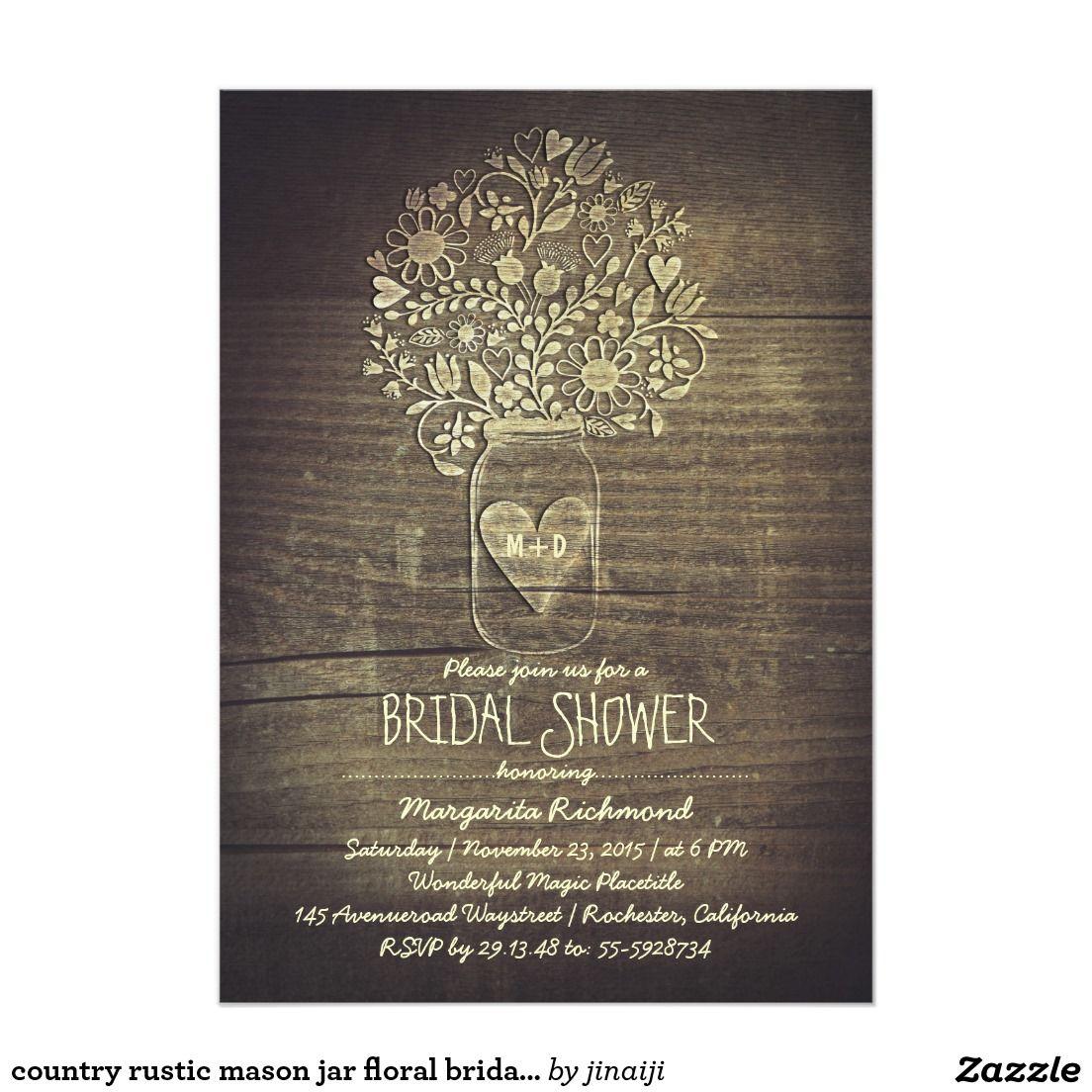 country rustic mason jar floral bridal shower card   WEDDING IDEAS ...