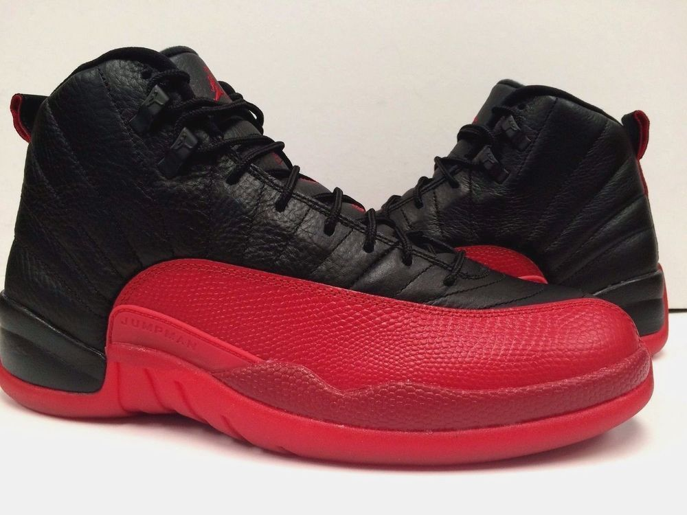 buy online b108a 779b5 Nike Air Jordan XII Retro 12 Flu Game Men Black Varsity Red 130690-002 New  Sz9.5  NIKE  BasketballShoes