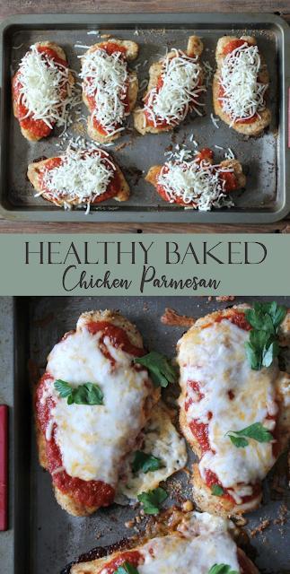 Healthy Baked Chicken Parmesan | MagazineRecipes Food #grilledchickenparmesan