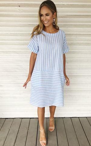 e54067418e11 Blue and white striped midi dress. Summer dress with heels. Midi dress.