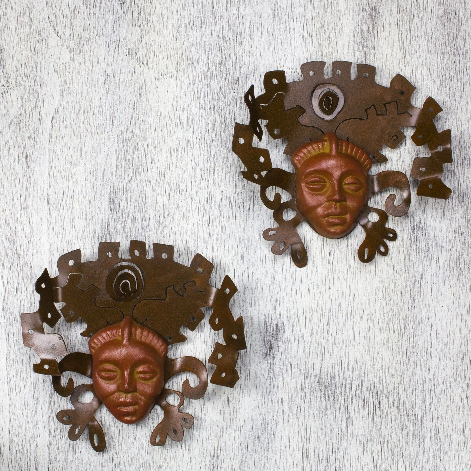 Novica Iron and 'Aztec Masks' Wall Adornment Pair Handmade in Mexico