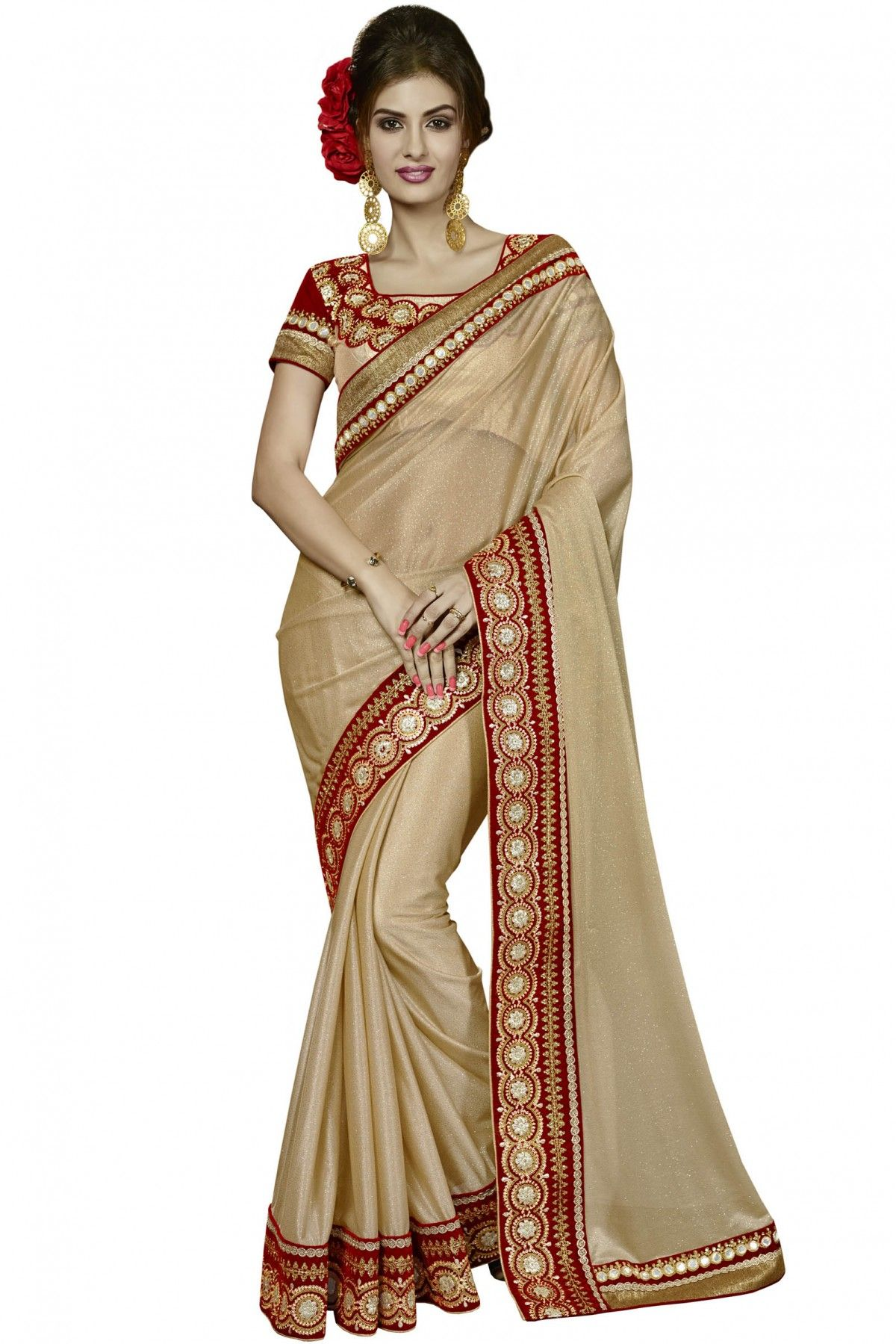 1dc6936c43 Gold Colour Designer Saree Comes With Lycra Fabric and Blouse Fabric Comes  In Brocade Fabric.