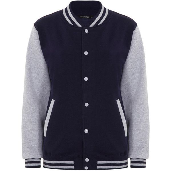 Dorothy Perkins Navy varsity jacket (115 BRL) ❤ liked on Polyvore featuring outerwear, jackets, tops, coats, varsity jacket, blue, navy blue varsity jacket, letterman jacket, navy blue letterman jacket and navy jackets