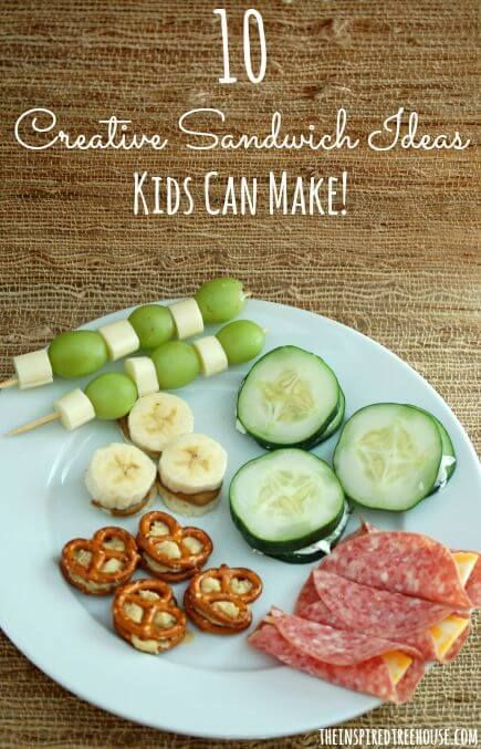 CREATIVE SANDWICH IDEAS KIDS CAN MAKE The only thing kids love more than a sandwich is creating one all by themselves!!