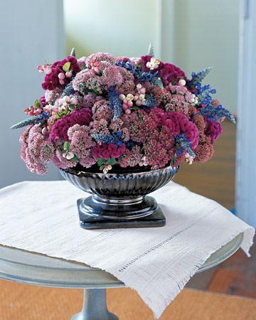 Jewel-Toned Flower Arrangement.  Pretty for winter.