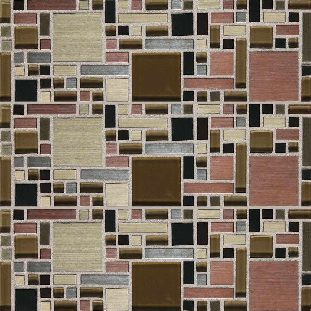 Daltile Fashion Accents Copper Fortress Blend 12 In X 12 In Glass And Stone Blend Mosaic Wall Tile 1 Sq Ft Piece Fa631212mgms1p Mosaic Wall Tiles Mosaic Wall Wall Tiles