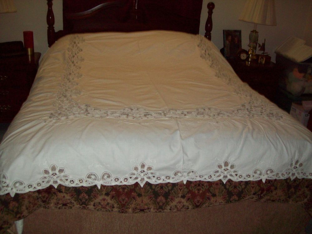 Battenberg Lace Bed Cover White 86 X 80 Home Garden