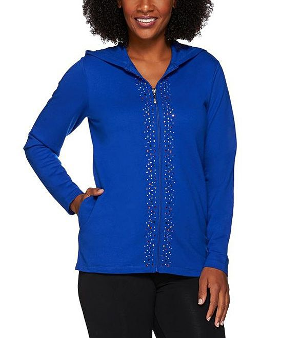 Royal Blue Super Sparkle Zip-Up French Terry Jacket