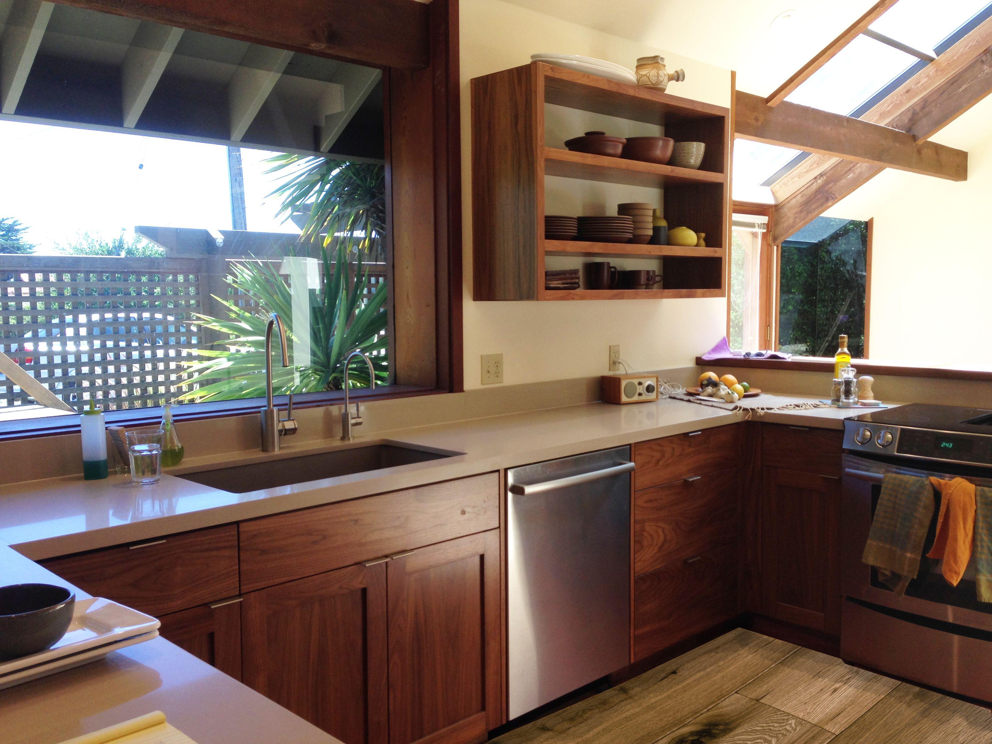 Beautiful Green Leaf custom walnut cabinets and ...