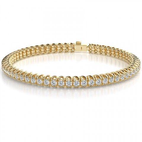 4.00 Carat F-VS Round Cut Diamond Eternity Tennis Bracelet in 14k Yellow Gold
