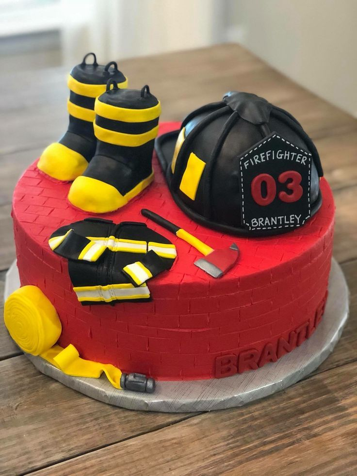 Incredible Firefighter Cake In 2020 With Images Firefighter Birthday Personalised Birthday Cards Veneteletsinfo