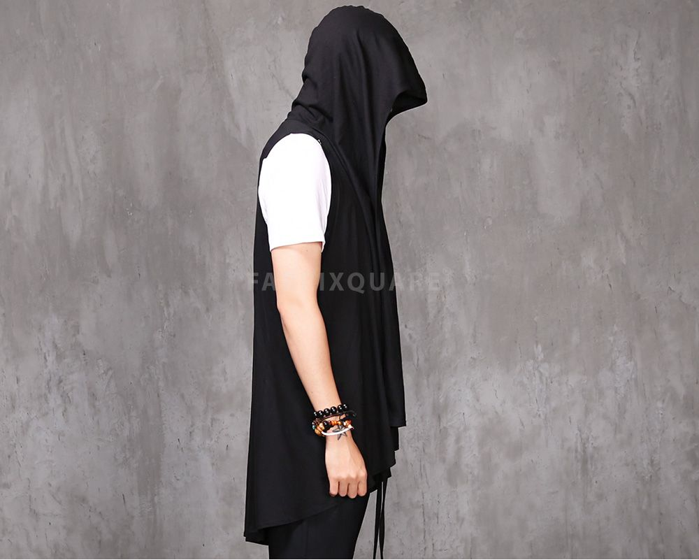 Mens VANDALIQUE Drape Hooded Sleeveless Long Cardigan Extended at ...