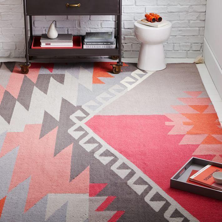 Sivas Wool Kilim Rug - Macaroon Pink and Gray with Pom Pom Tassels ...