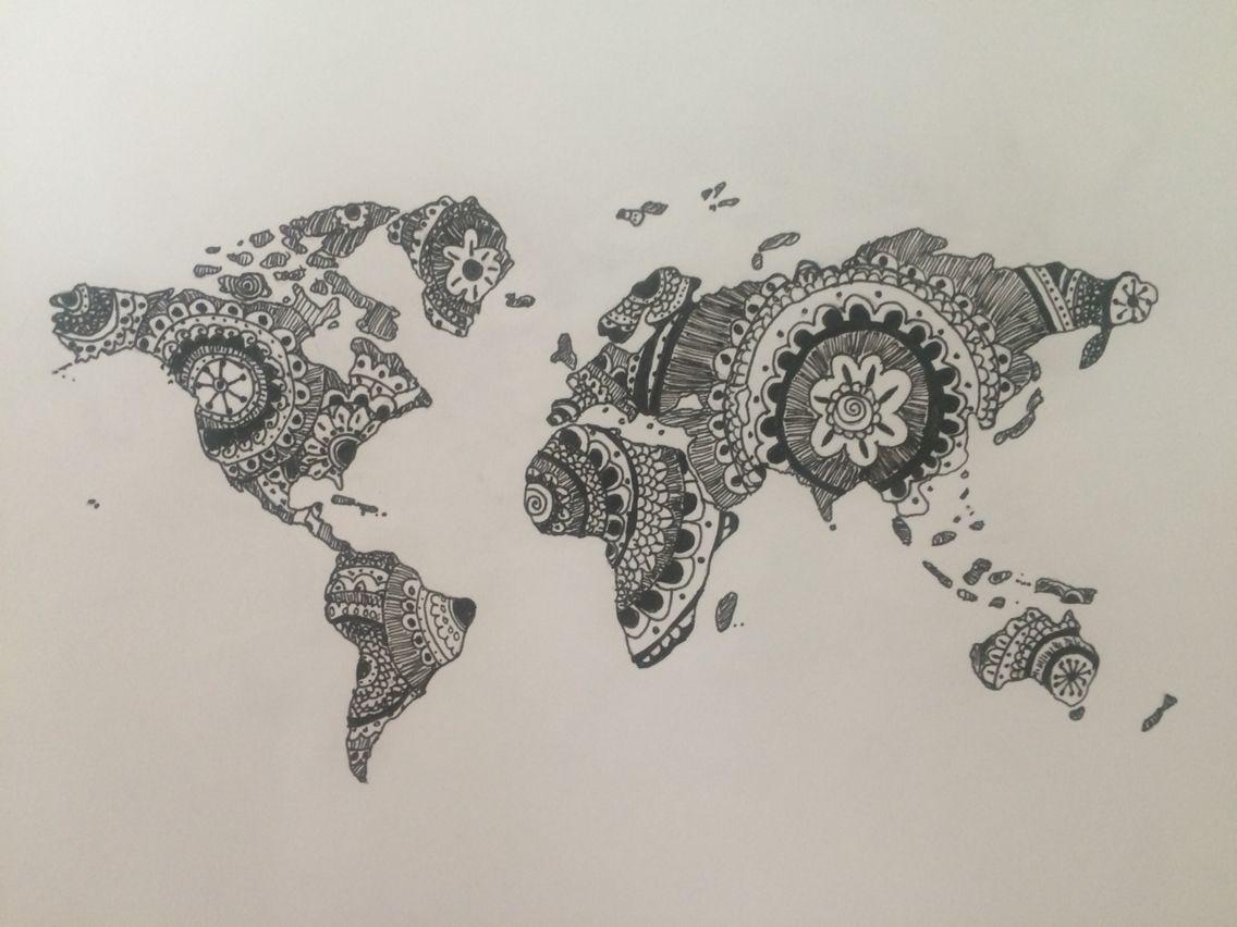 Zentangle world map zentangle zentangle pinterest zentangle world map gumiabroncs Images