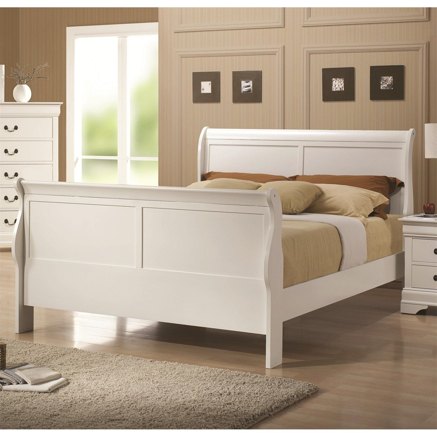 Coaster Furniture 204691F Full Sleigh Bed in White (With