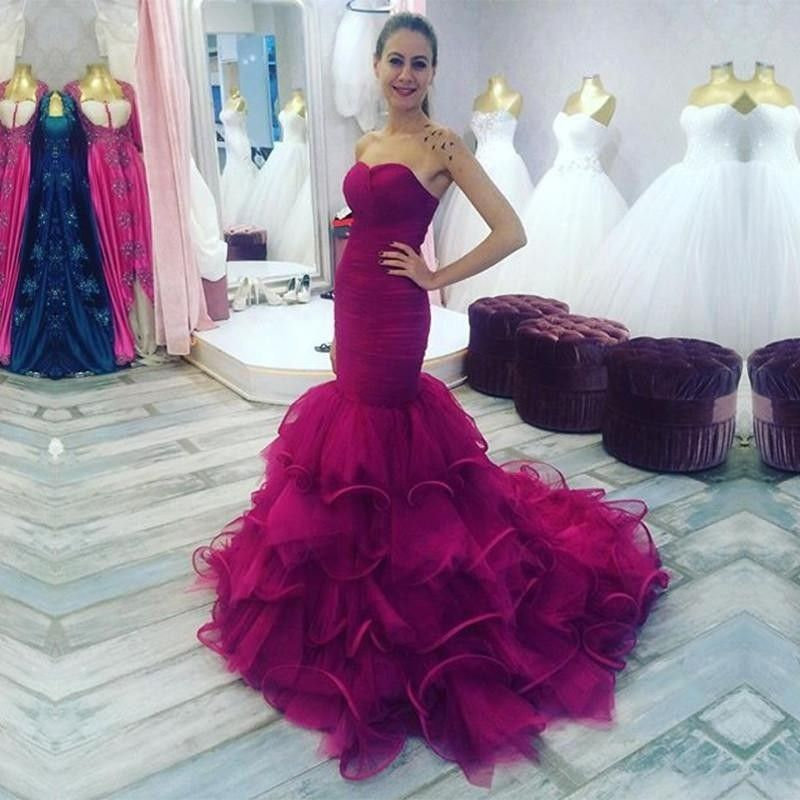 Ruffles Mermaid Evening Dresses Long New Sexy Sweetheart Backelss
