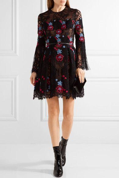 Elie Saab Woman Fringed Embroidered Cotton-blend Tulle Mini Dress Black Size 38 Elie Saab qkk5nt6al2