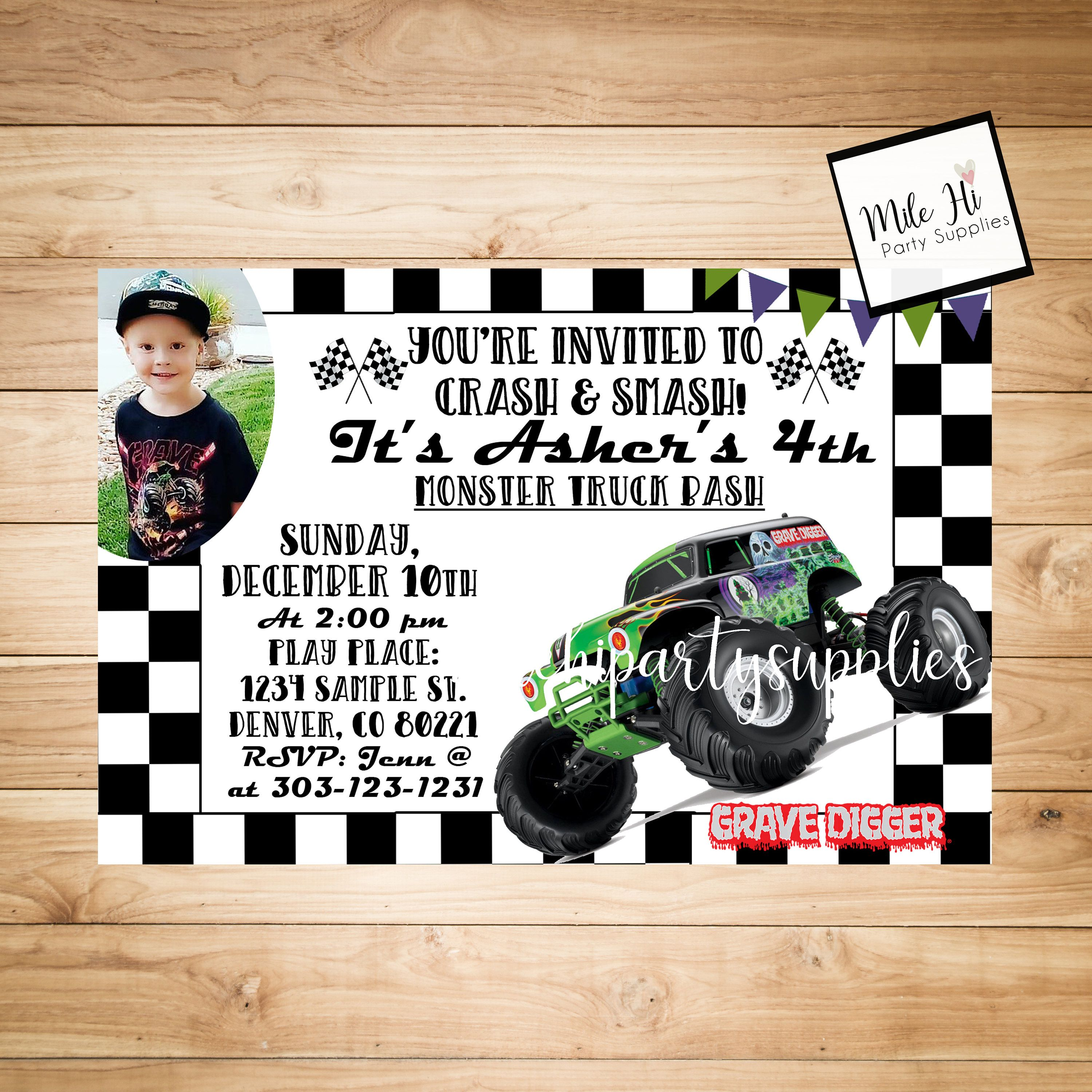 Grave Digger Monster Jam Birthday Party Invitation with Photo by
