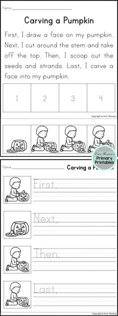 Students will sequence using the words first, next, then, and last - halloween writing ideas