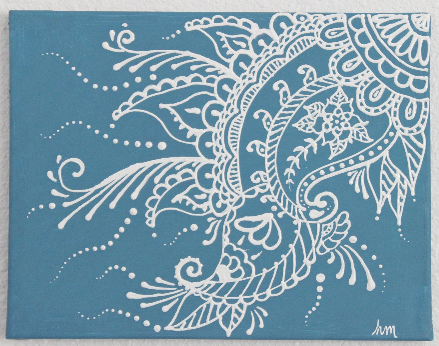 Puffy paint designs - Mehndi Henna Painting 11 X14 Stormy Blue And White On Sale