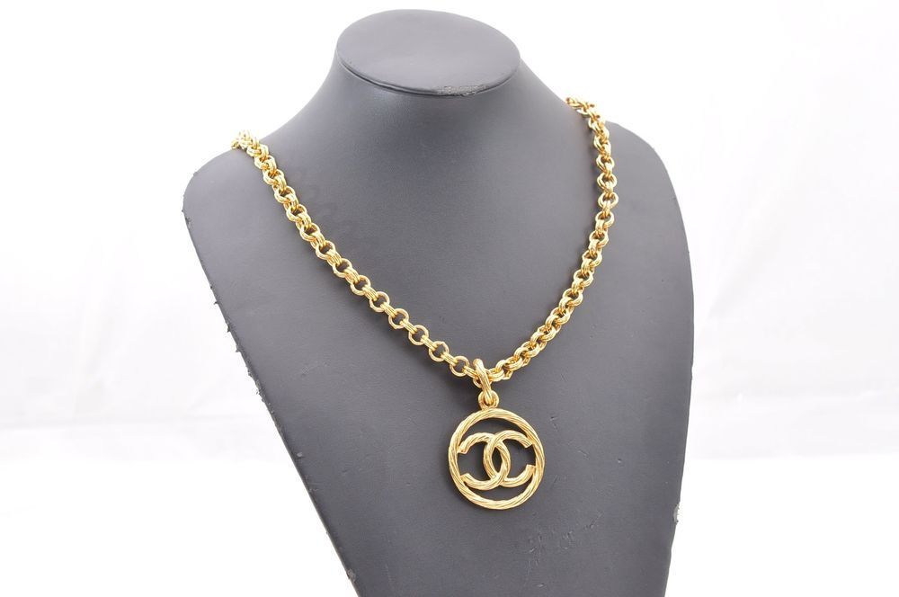 Authentic chanel cc logo gold tone chain pendant necklace 47024 aloadofball Image collections