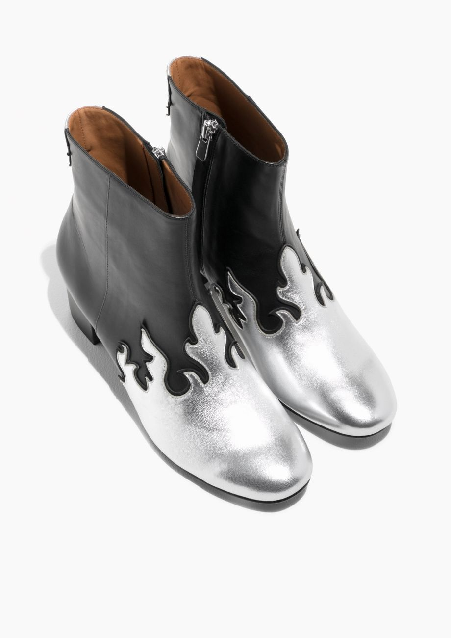 4fb058aa2 & Other Stories image 2 of Metallic Flame Leather Boots in Black ...