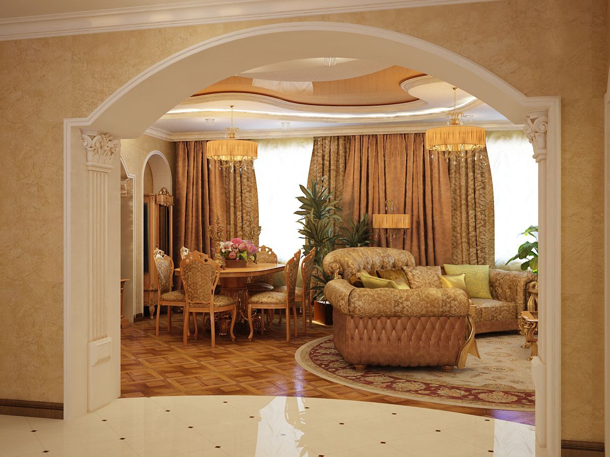 Arka Mezhdu Kuhnej I Gostinoj 33 Jpg 1200 900 House Arch Design Archways In Homes Interior Design Living Room