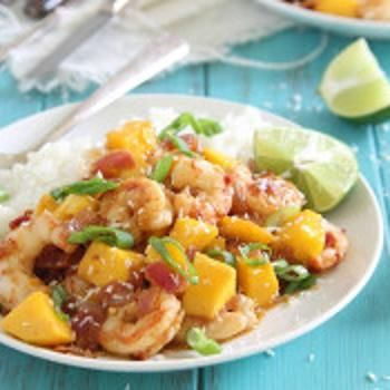 I  LOVE Shrimp! AND...Mangos are on sale TODAY at Whole foods!!! Sweet and spicy mango shrimp