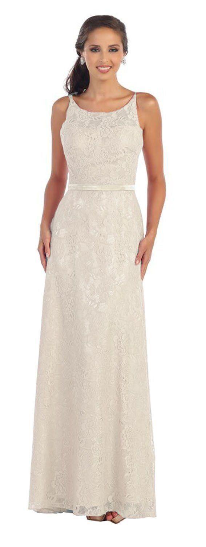 Elegant modest long ivory mother of the bride dress formal