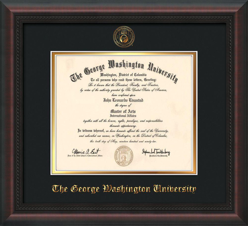 George Washington U Diploma Frame - Mahog Braid - Seal - Black on ...