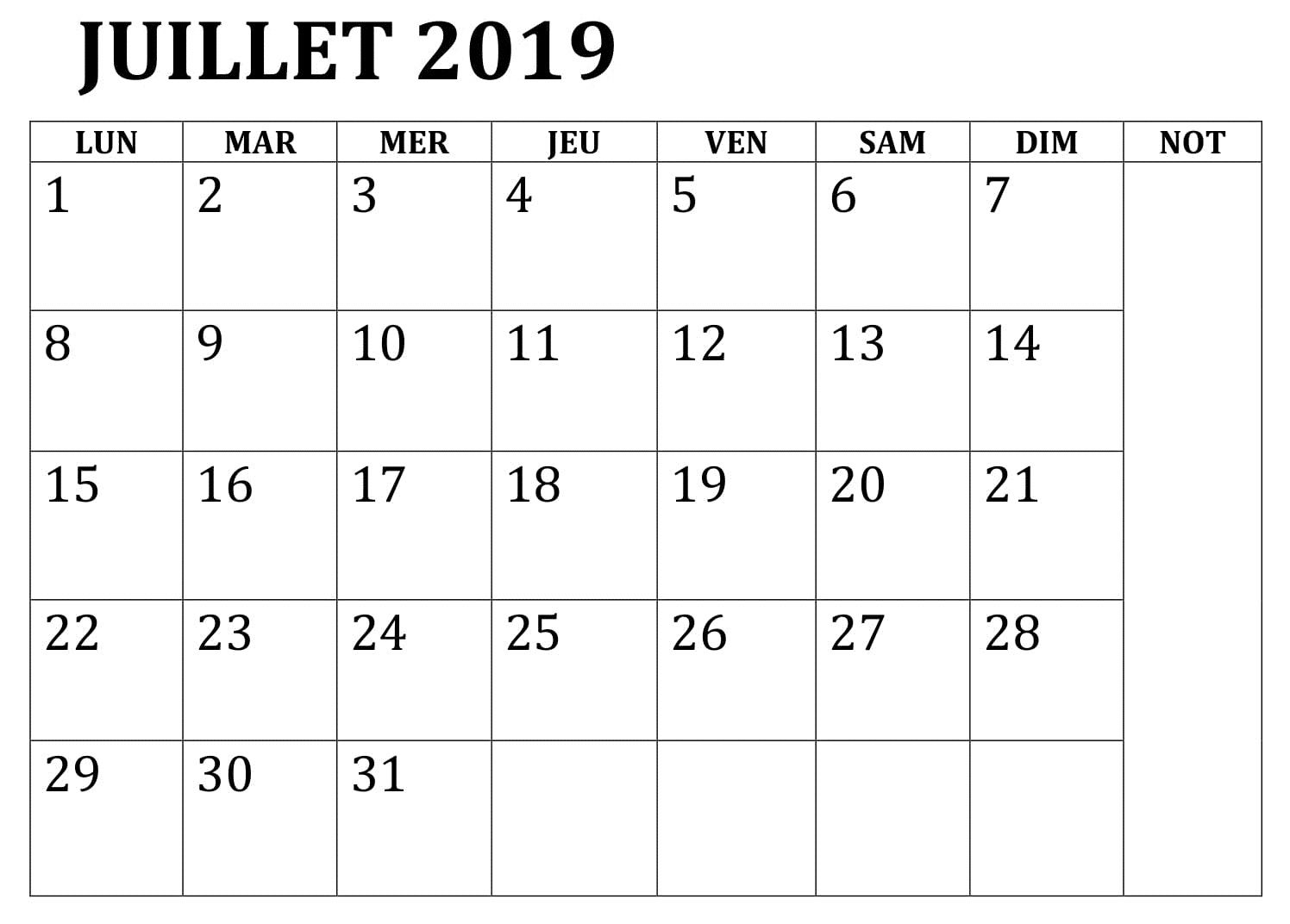 Template Calendrier 2019.Calendrier 2019 Juillet A Imprimer Pdf In 2019 Blank