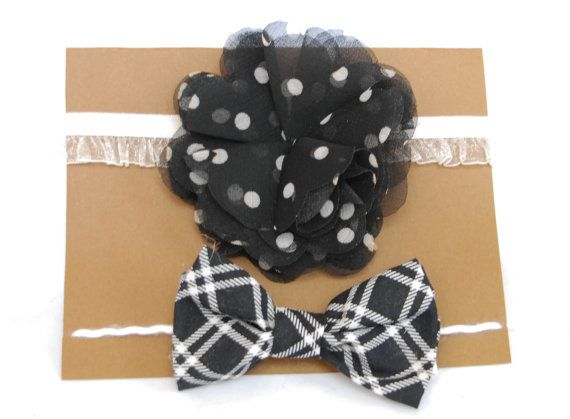 Oh so perfect for twins!!  Black and White Baby Headband and Tieback by SimplyCharleneProps, $10.00