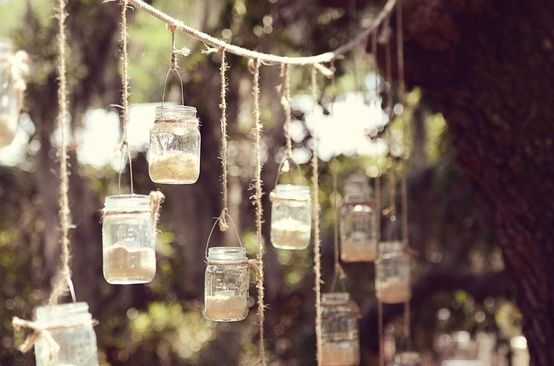 Hanging Mason Jar Candles From All The