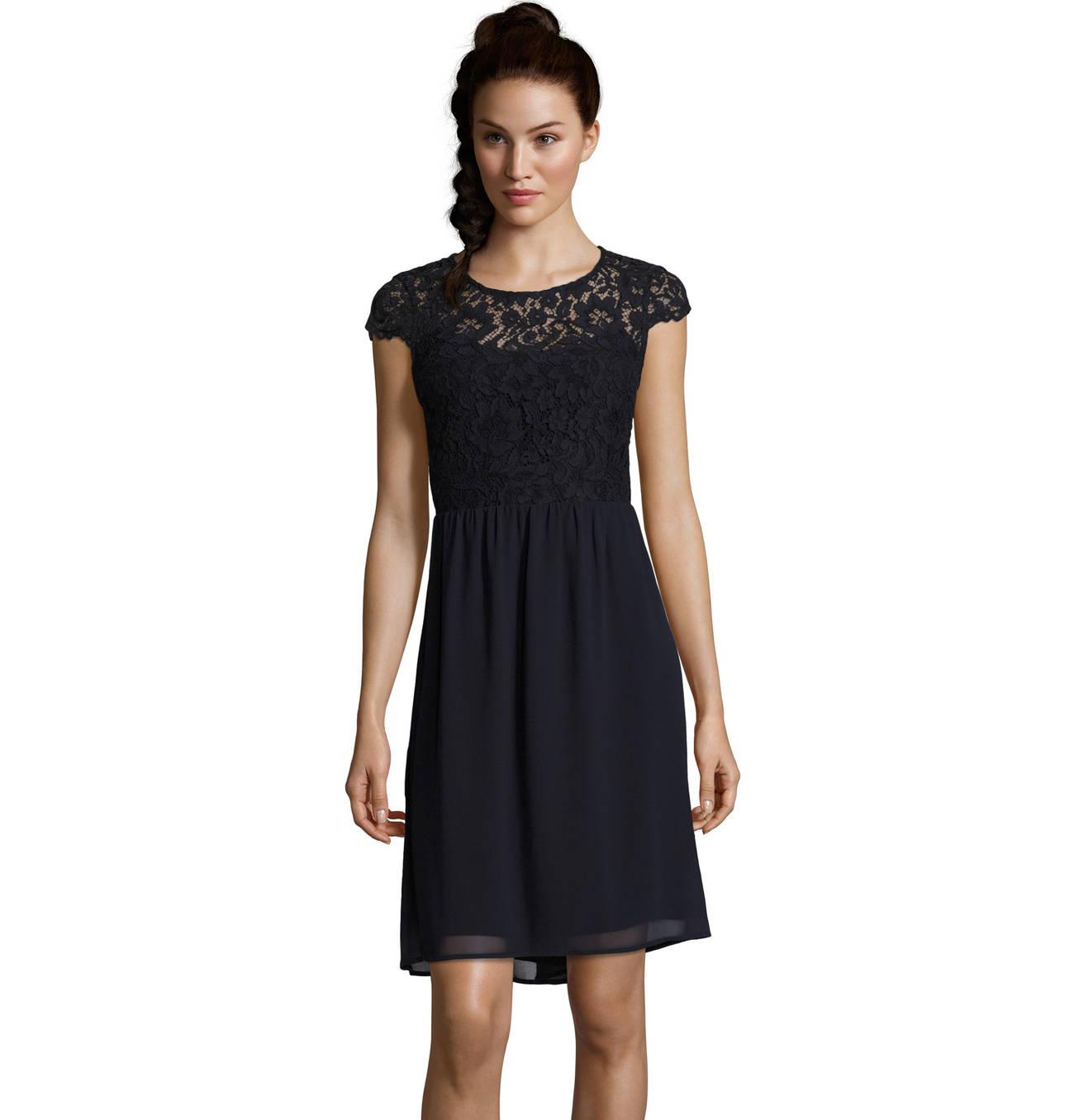 Kleid, Flügelärmel, florale Spitze, transparente Schulterpartie
