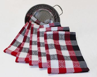 Red White And Blue Hand Woven Kitchen Tea Towel Plaid Towel