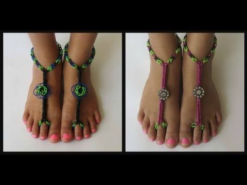 730efe4c4e8 How to Attach Blooms   Charms to Rainbow Loom Barefoot Sandals - YouTube