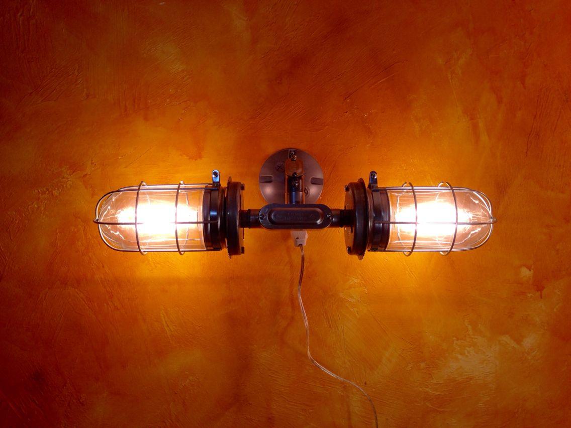 Nautical Bathroom Sconces industrial lighting vanity sconce, double head metal cage light