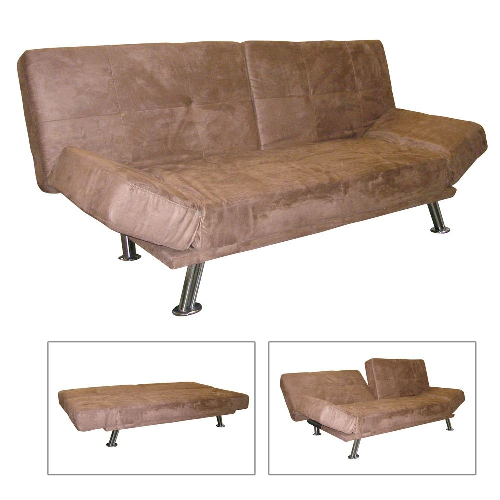 Adjustable Futon Sofa Bed   Dark Brown