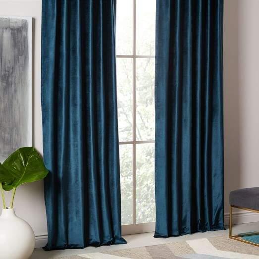 Luster Velvet Curtain Set Of 2 Regal Blue 48 X108 Velvet