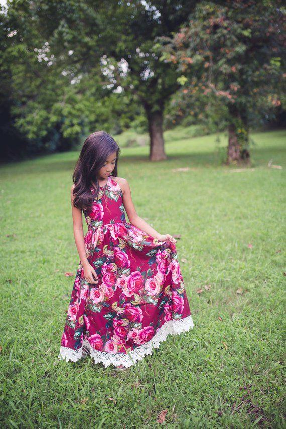 e92d5296c282 Girls Burgundy Rose Maxi Dress, Boho Shabby Chic Flower Girl Dress,  Bohemian Dress Girl Toddler, Pho