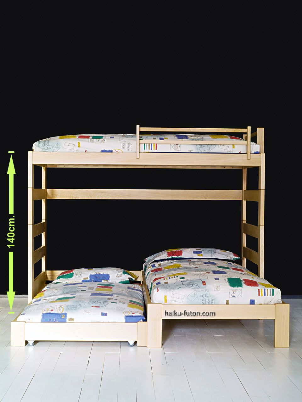 2 litera juvenil en l de 140cm de altura con la cama for Cama nido con escritorio