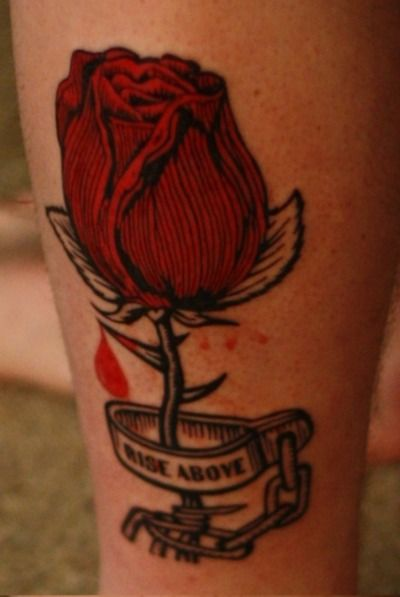 Red rose tattoo in white?
