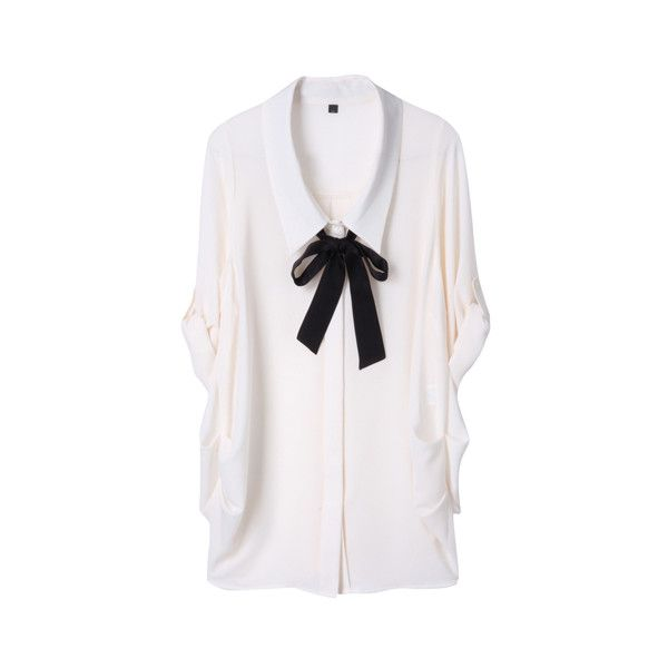 DOUBLE STANDARD CLOTHING シルクデュエット クレープジョーゼット ブラウス (1.475 ARS) ❤ liked on Polyvore featuring tops, blouses, shirts, shirts & blouses, shirts & tops, white shirt, white blouse and henley tops