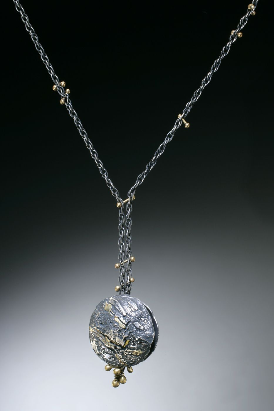 "Dogwood Neckpiece. 18k pink and yellow gold, ruby, tourmaline crystals, and ruby briolette. Length; 16""Nina Mann Artist in Precious Metals | Neckpieces"