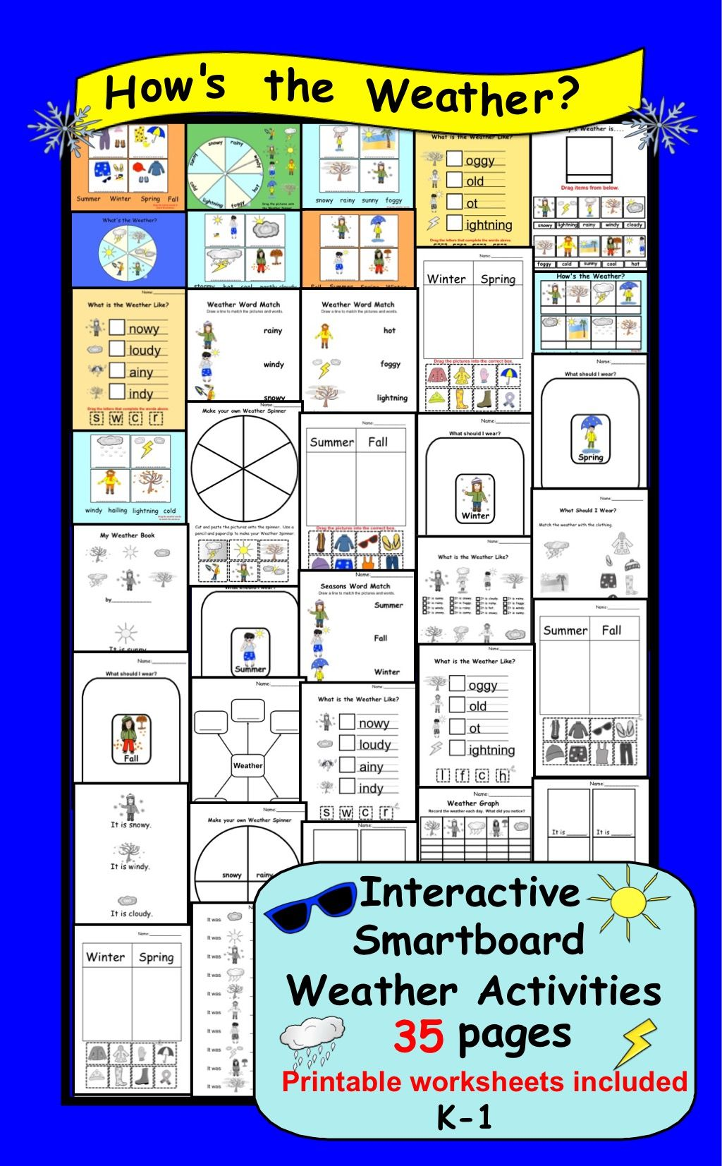 35 Pages Interactive Smartboard Weather Activities For K