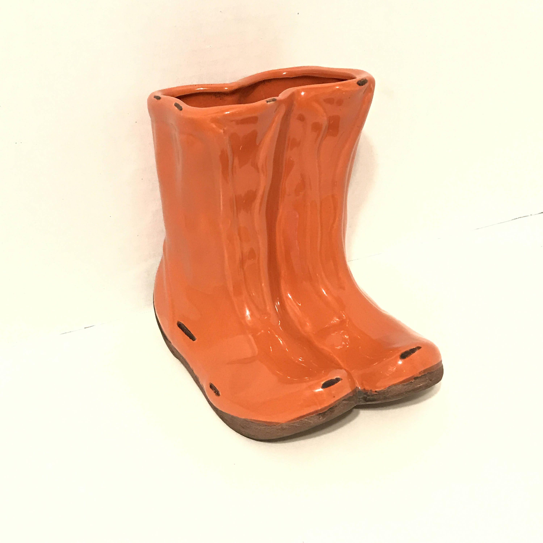 14 Vintage Succulent Planter Indoor Retro Orange Galoshes Rain Boots Office Small